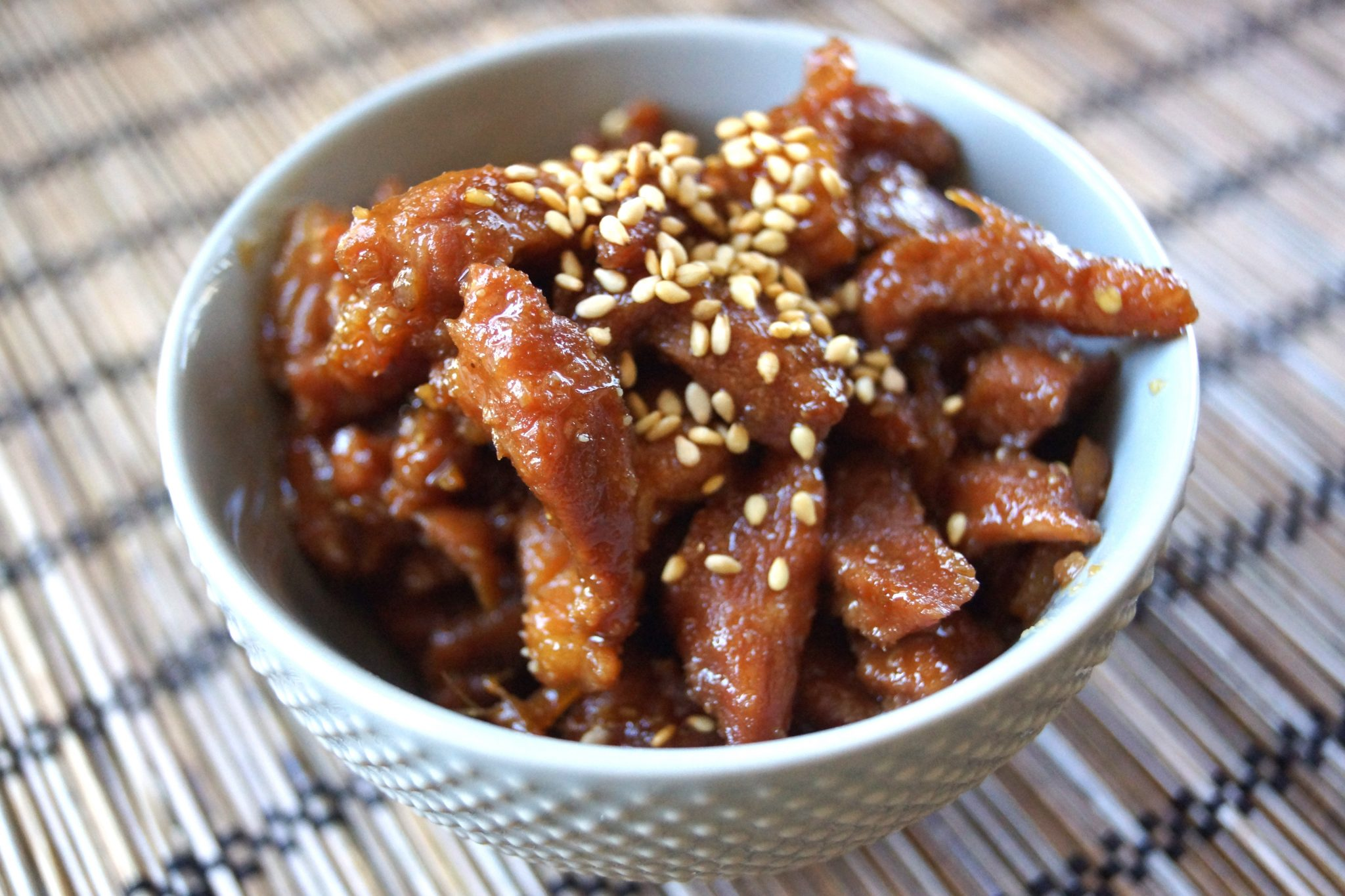 pork shigureni with sesame