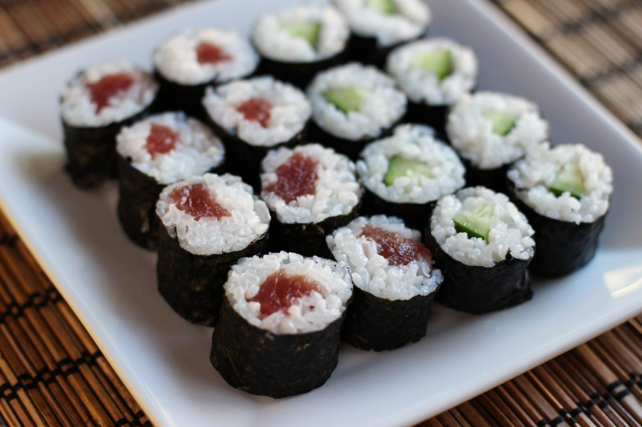 Sushi Rolls (Tuna and Cucumber Rolls) Recipe – Japanese ...
