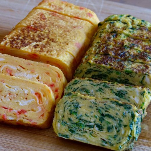 Tamagoyaki with spinach and benishoga pickled ginger